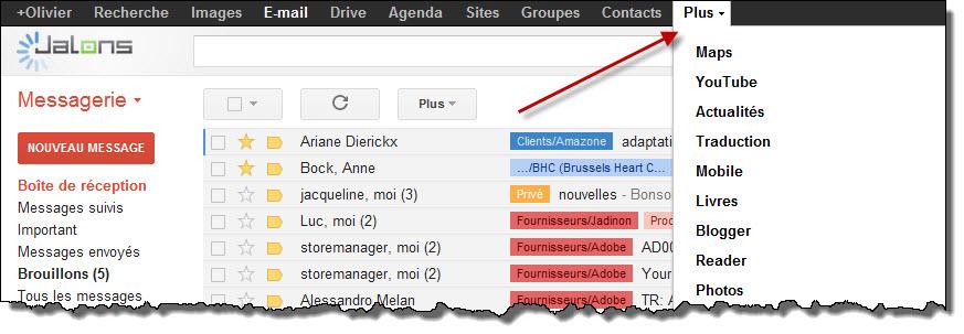 Le menu Plus dans Google