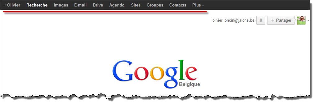 Le menu sur Google (homepage)