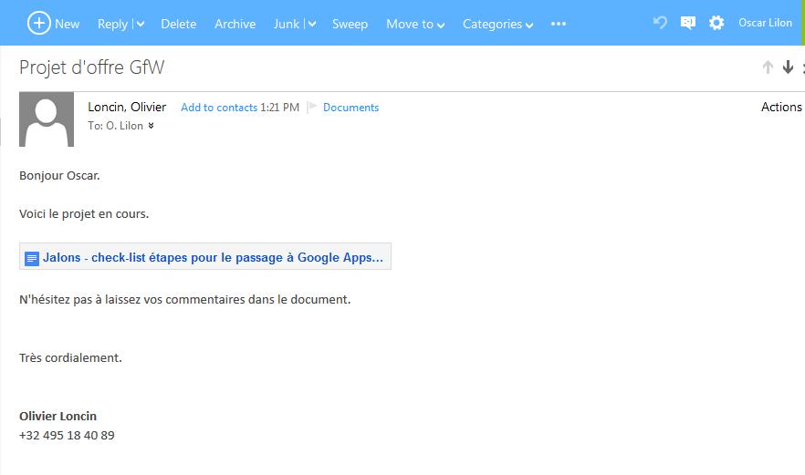 Mail avec lien vers un document Google