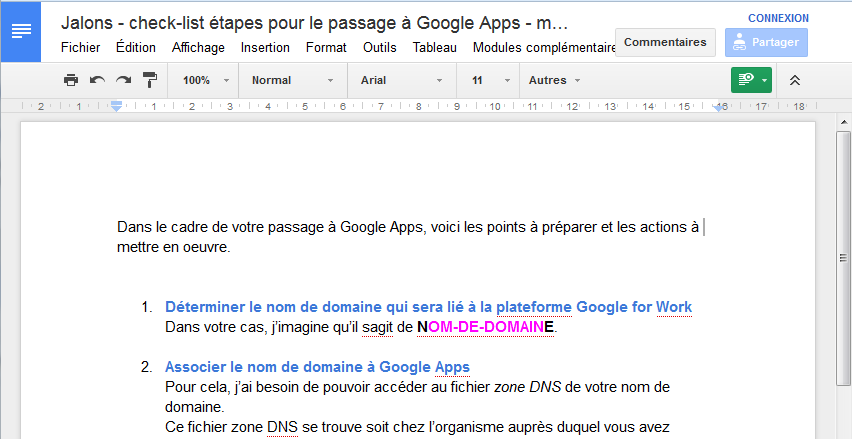 Document Google Docs