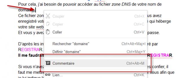 Document Google - insertion de commentaire