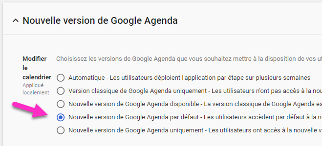 Nouvelle version de Google Agenda - options de déploiement