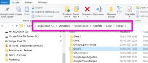 Emplacement du dossier cache de Drive File Stream