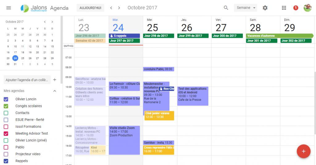 La nouvelle interface de Google Agenda