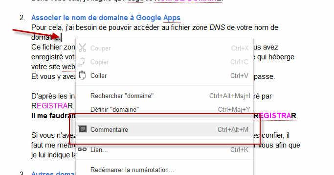 Comment publier un commentaire dans un document Google?