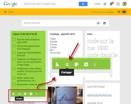 Google Keep, partager des notes, ça, c'est fait.