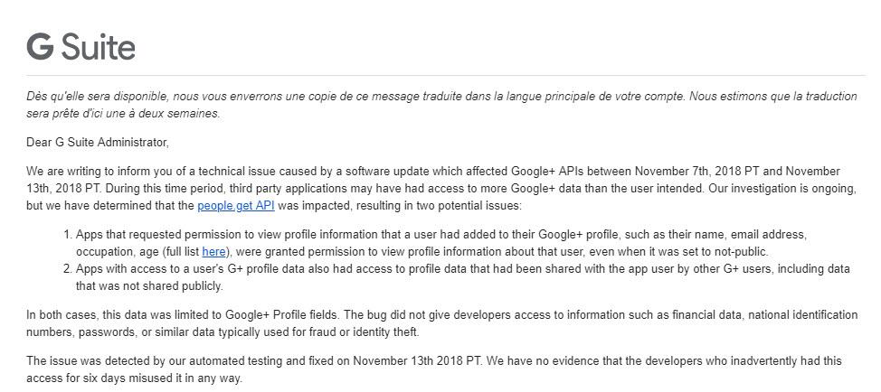 A propos de l'incident Google+ API du 7 novembre 2018