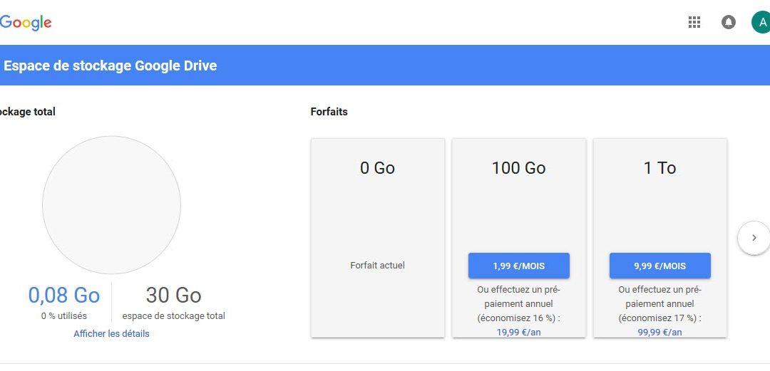 Quel est le prix de l'espace de stockage supplémentaire pour Google Drive ?