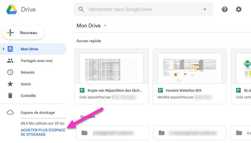 Acheter de l'espace supplémentaire pour un compte Google