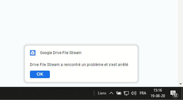 Erreur Drive File Stream