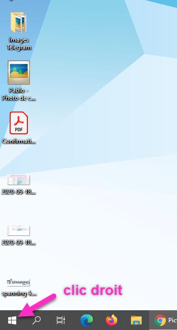 Bouton Démarrer Windows 10