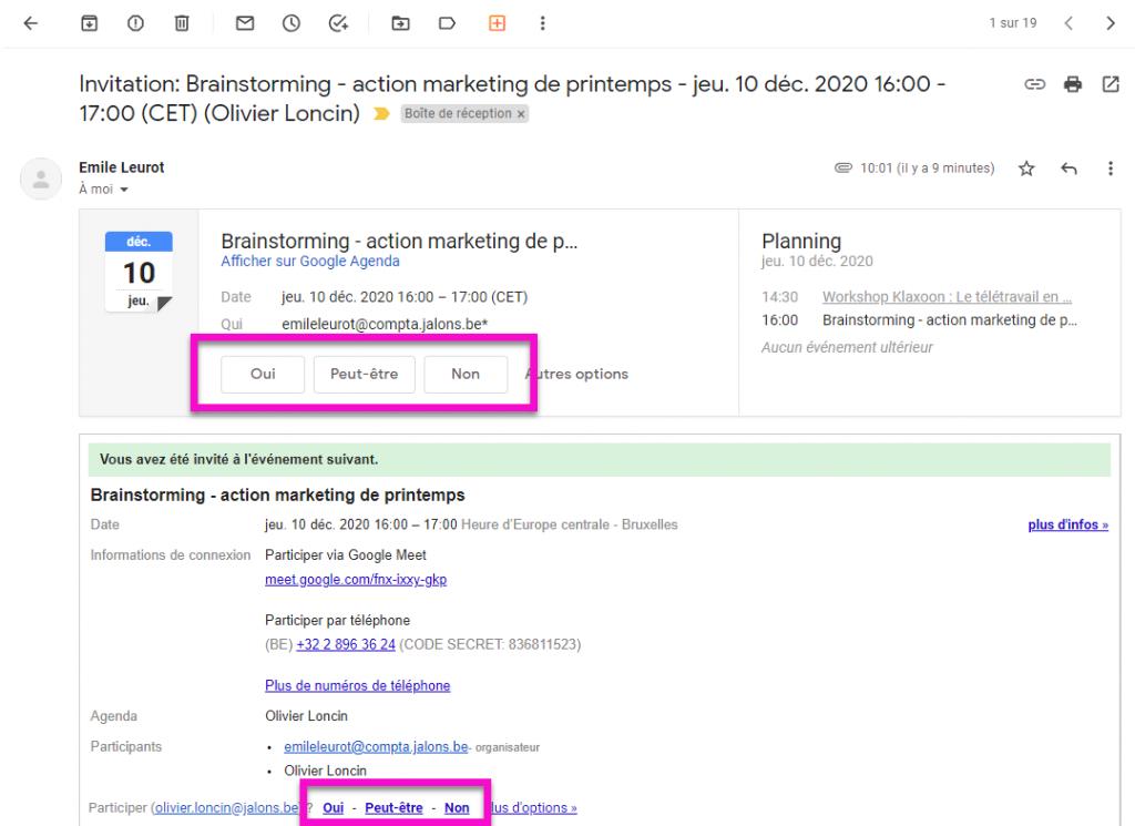 Google Agenda - mail d'invitation