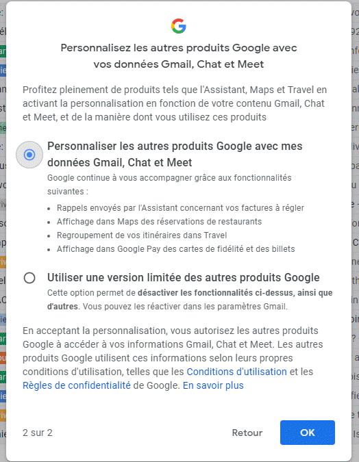 Gmail, Chat et Meet: confirmer l'utilisation des fonctionnalités intelligentes